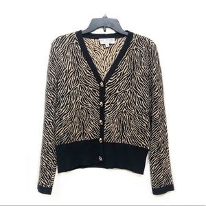 St. John Collection Tiger Print Button Cardigan